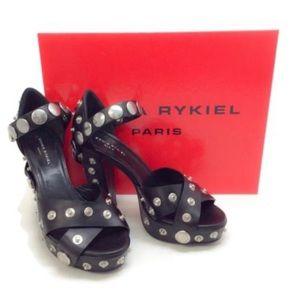 NIB Sonia Rykiel Black Snap Embellished Sandals 37